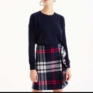 J. Crew l NWT Plaid Wool Ruffle Mini Skirt